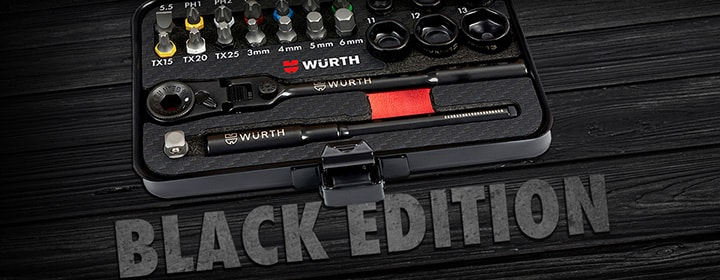 Jointed-Head Ratchet Wrench Black Edition Set
